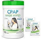 CPAP Mask Cleaning Wipes - 110 Pack + 2 Travel Wipes | The Original Unscented Cleaner & Sanitizer for Masks | Equipment & Machine Supplies by RespLabs