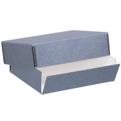 Lineco Museum Archival Drop-Front Storage Box, Acid-Free with Metal Edges, 8.5 X 11 X 3 inches, Gray (733-0811)