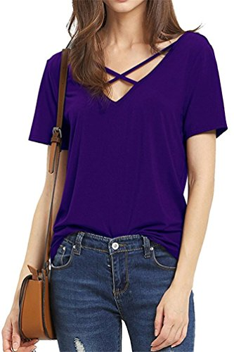 womens-criss-cross-front-deep-v-neck-t-shirt-summer-casual-tee-tops-xl-purple