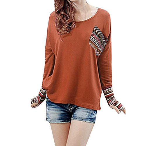 Mr.Macy Hot Sale Women's Patchwork Casual Loose T-Shirts Blouse Tops With Thumb Holes by (S, - Style Macy's Work At