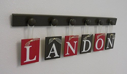 Alphabet Letters Hanging Ribbon Monogram Set Includes Wood Peg Rack and Letter Plaques Pained in Red and Chocolate Brown, Custom Wooden Wall Letters (Sawtooth Monogram)