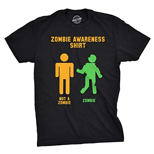 Crazy Dog T-Shirts Mens Zombie Awareness Tshirt Funny Halloween Undead Tee for Guys (Black) - L (Best Halloween Trick Or Treat Horror Mix)