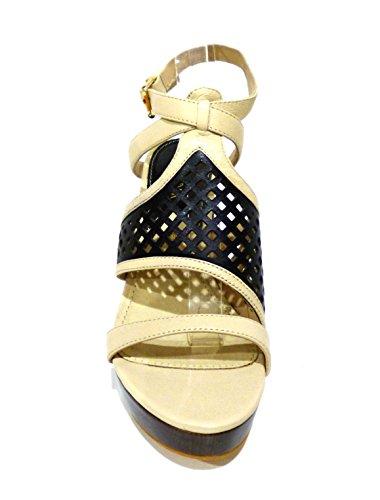 Cafènoir MD122 - 010 nero sandalo beige e nero con tacco legno alto grosso e plateau n° 38