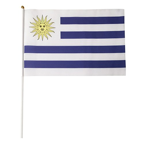 Uruguay Polyester Country Flags Desk Outside Waving Parade 12-pack Hand or 12 inch x 18 inch Grommet (12-Pack Hand Flag)