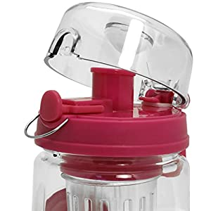CampTeck 1 Litre 1000ml Fruit Infuser Water Bottle (BPA Free Tritan Plastic) with Leak Proof Lid + Lock & Carry Handle - Pink
