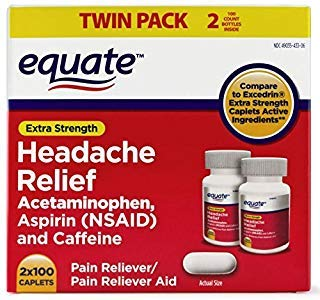 (Headache Relief Extra Strength Acetaminophen Pain Reliever/Pain Reliever Aid Coated Caplets, 100 count (Pack of 2))