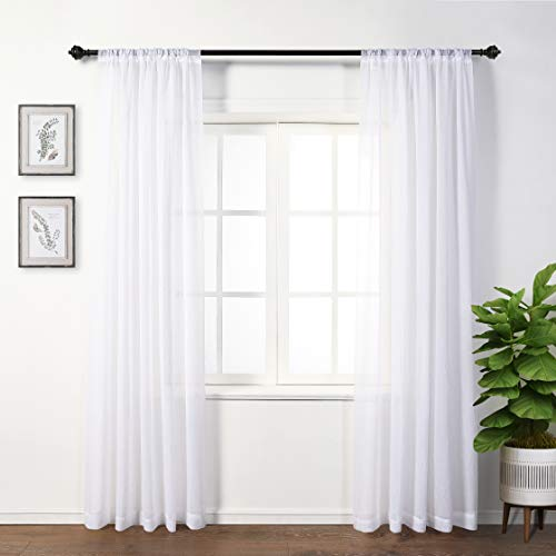 MYSKY HOME Back Tab and Rod Pocket Window Crushed Voile Sheer Curtains for Bedroom, White, 51 x 95 inch, Set of 2 Crinkle Sheer Curtain Panels