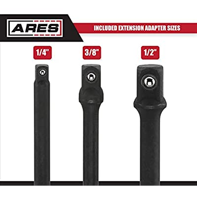 ARES 70000-3-Inch Impact Grade Socket Adapter Set - Turns Power Drill into High Speed Nut Driver - 1/4-Inch, 3/8-Inch, and 1/2-Inch Drive: Automotive