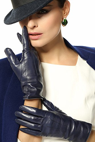 Elma Women's Touch Screen Italian Nappa Leather Winter Texting Gloves (8, Dark Navy)