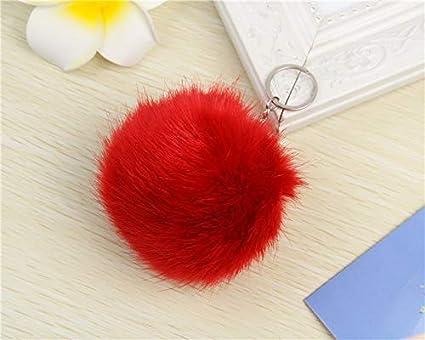 Amazon.com: Rarido 10cm Fur Pompom Keychain Silver Fluffy ...