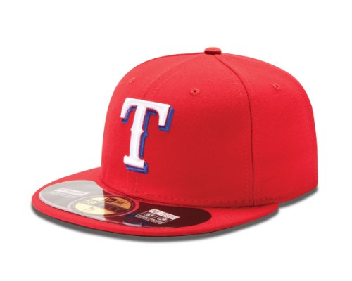New Era MLB Texas Rangers Alternate AC On Field 59Fifty Fitted Cap, Scarlet, 7