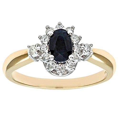 mglmahi or jaune 9ct saphir noir & Diamant Look Bague Grappe