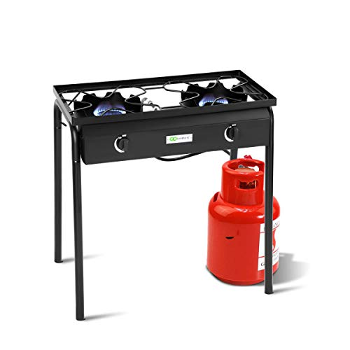 Price comparison product image Goplus Outdoor Camp Stove Propane Gas Cooker Portable Cast Iron Patio Cooking Burner w / Detachable Legs (2-Burner 150, 000-BTU)