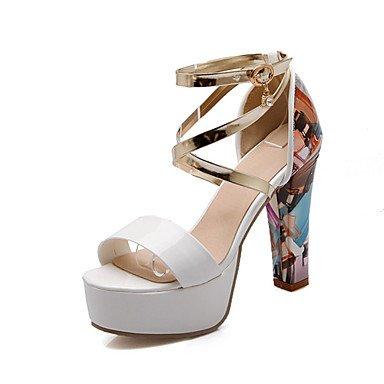 LvYuan Mujer-Tacón Robusto-Otro-Sandalias-Vestido Informal Fiesta y Noche-Cuero Patentado Purpurina Materiales Personalizados-Rosa Blanco Plata Pink