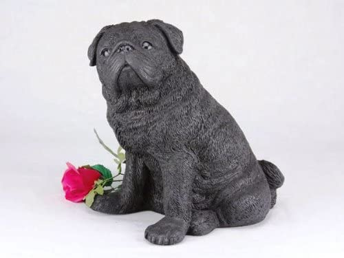 King Products Pug Black Cremation Pet Urn for Secure Installation of Your Beloved pet's Ashes.Rose not Included.