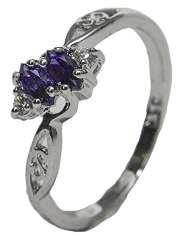 - RS Covenant Women's Rhodium Plated Dress Ring White and Purple Marquise CZ 006 (7)