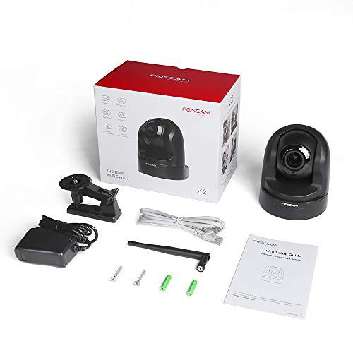 Foscam Z2 1080P Baby Monitor, Pan&Tilt 2.4/5Ghz Dual Band WiFi IP Security Camera with 4X Optical Zoom, Home Surveillance Camera Pet Cam with Motion/Sound Detection,Night Vision, Free Cloud,Black