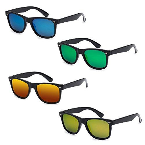 WHOLESALE UNISEX 80'S RETRO STYLE TRENDY SUNGLASSES - 4 PACK (Gloss Black | Color Mirrors, - Sunglasses Wayfarer Size Large