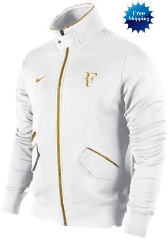 compañero plan de estudios escalar  Nike Roger Federer Tennis Victory Track Warm up Jacket Wimbledon White Gold  XL XXL, Sports & Outdoors - Amazon Canada
