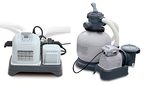 Intex Krystal Clear 2800 GPH Sand Filter Pump & 7000 Gal Saltwater Chlorinator by INTEX