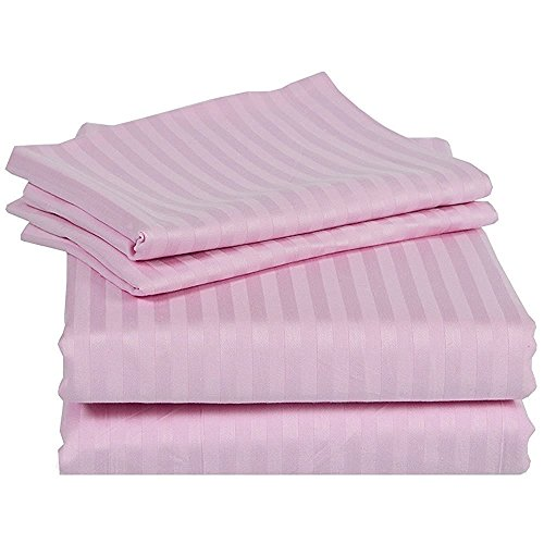 (Rajlinen 100% Cotton Bed Sheets - 300 Thread Count Sateen - 15 inch Deep Pocket - Quality Luxury Bedding -{ 4 Piece Best Sheets for Bed, Breathable, Soft & Silky }(Pink Stripe King) )