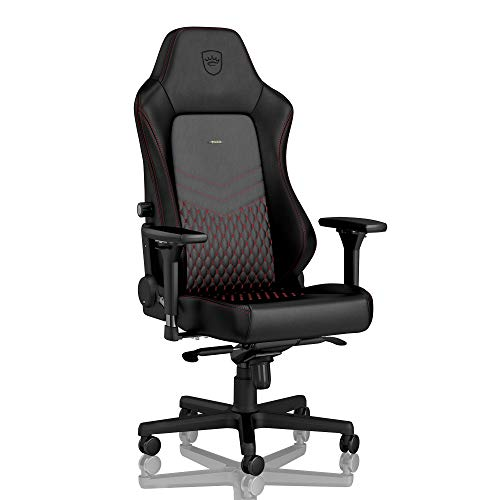 (noblechairs Hero Gaming Chair - Office Chair - Desk Chair - Real Leather - 330 lbs - 125° Reclinable - Lumbar Support - Racing Seat Design - Black/Red)