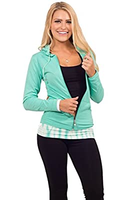 Womens Jersey Seamless Long Sleeve Solid Color Basic Activewear Hooded Jacket