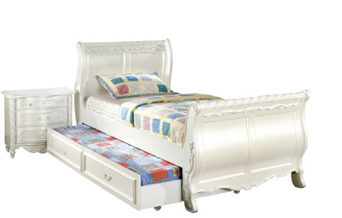 Furniture of America Nathalia Fairy Tale Style 3-Piece Twin Sleigh Bed with Trundle and Nightstand Set, Pearl White Finish (Pearl Sleigh)