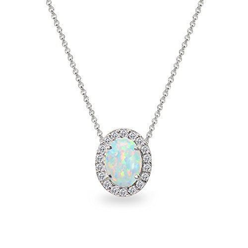 - Sterling Silver Simulated White Opal Oval Halo Slide Pendant Necklace with CZ Accents