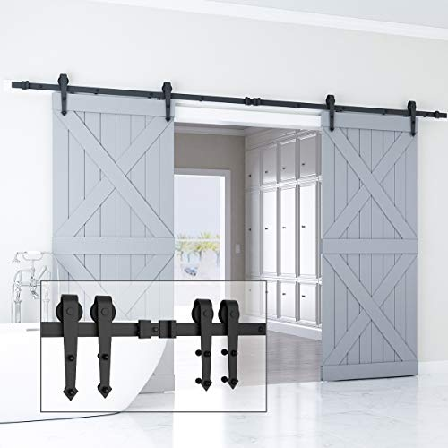 Genius Iron 12FT Double Barn Door Hardware, Classic Design Standard Track with Upgraded Nylon Bearings, for 30in-36in Wide Sliding Door Panel, Easy Installation, [ Arrow Shape ], Black