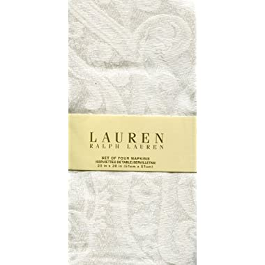 Ralph Lauren Paisley White Set of Four Cloth Napkins