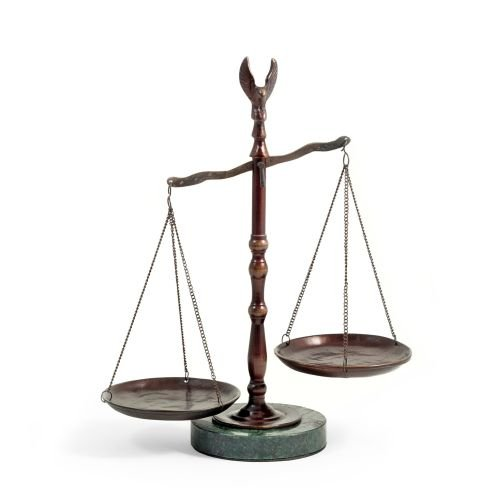 Bronzed Legal Lawyer Scales of Justice with Eagle Finial and Marble Base-12.5in.ht G.
