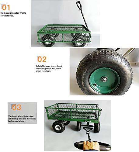 ad6684f53d9b Dporticus Four-Wheel Trailer Large Folding Wagon Side Cart 560lbs ...