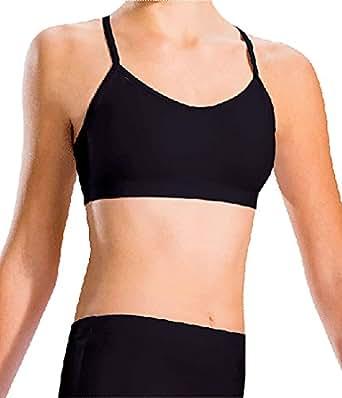 Motionwear Women's V-Back Strap Cami Bra Top L BLACK