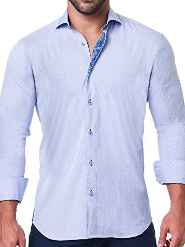 Maceoo Mens Designer Dress Shirt - Stylish & Trendy - Einstein Dot Blue - Tailored Fit (Shirt Collar Dress Cotton Italian)