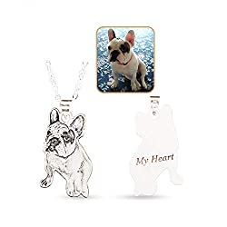 Wisdoy Personalized Pet Cat Dog Photo Necklace 925 Sterling Silver Pendant Chain Custom Picture Necklaces Handmade Gift For Men Women Girls Boys Mother