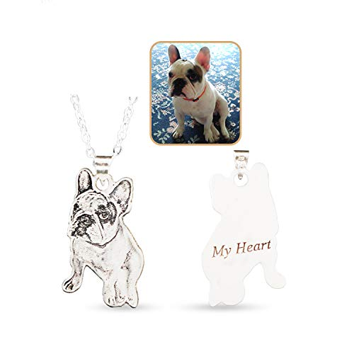 Wisdoy Personalized Pet/Cat/Dog Photo Necklace 925 Sterling Silver Pendant Chain Custom Picture Necklaces Handmade Gift for Men/Women/Girls/Boys/Mother