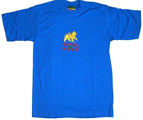 GANJA WEAR T-Shirt Nr. 14 royalblau Baumwolle Größe L bestickt Original 1990er Cannabis Marijuana Rasta