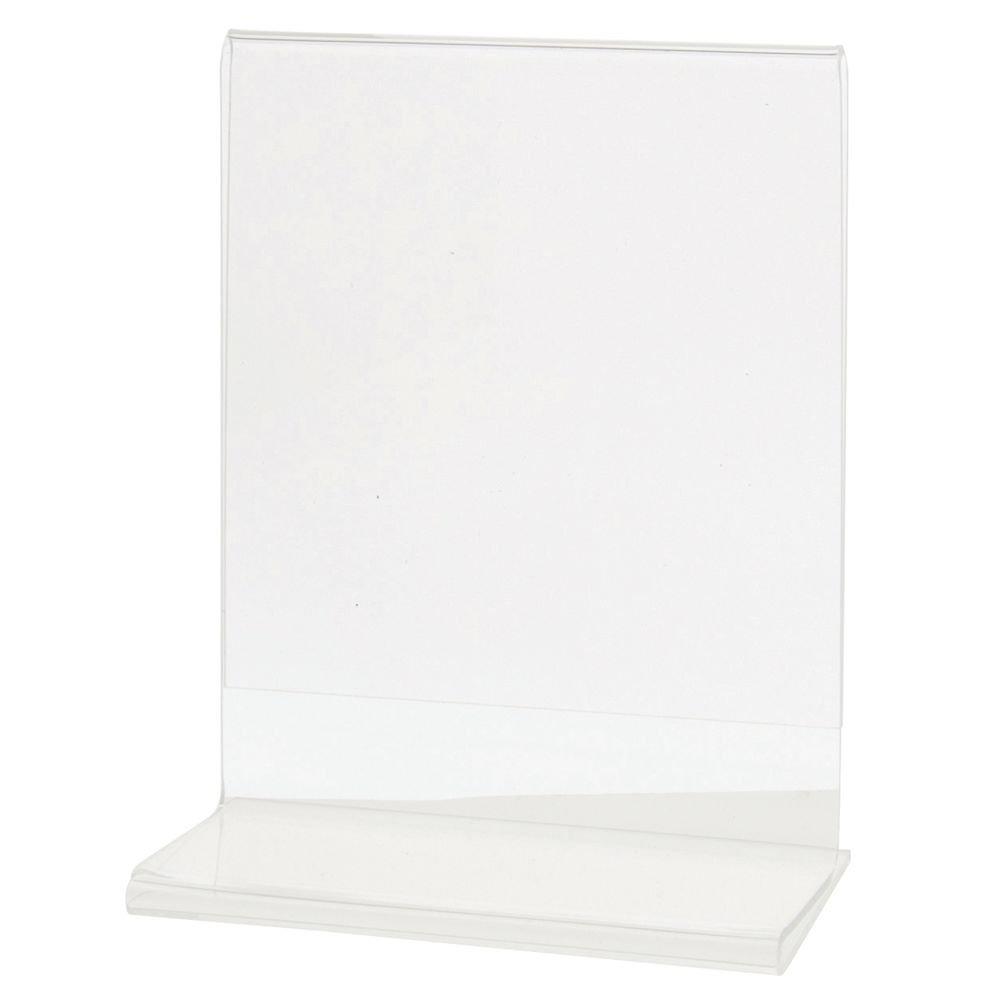 HUBERT Acrylic T-Base Sign Holder Clear Acrylic Horizontal - 4 1/4''L x 5 1/2''H by HUBERT