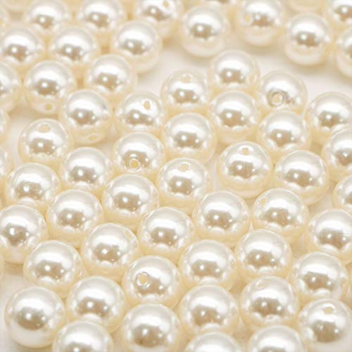JETEHO 100pcs 12mm Artificial Pearl Loose Beads with 1.5mm Hole - Round Ivory Pearl Beads for Arts Crafts, Jewelry Making Projects