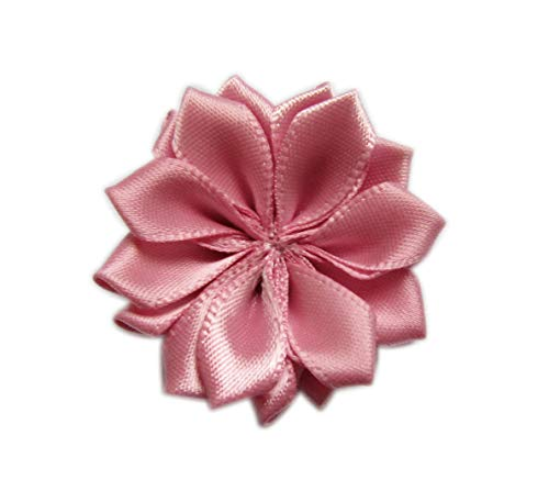 (YYCRAFT 30 Satin Ribbon Flower 1.5 Inch for Craft Wedding Sewing Embellishment Appliques(Rose Pink))
