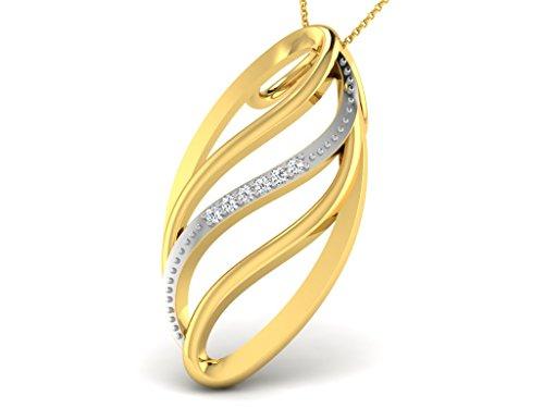 Or Jaune 18 ct Pendentifs Diamant en forme de ovale, 0.01 Ct Diamant, GH-SI, 0.98 grammes.