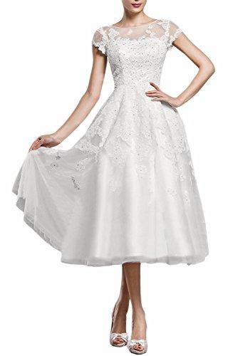 ABaowedding Women's Lace Short Wedding Dress For Bride A Line Tea-Length Evening Dress Gown US 22 Plus (A-line Tea Length Gown)