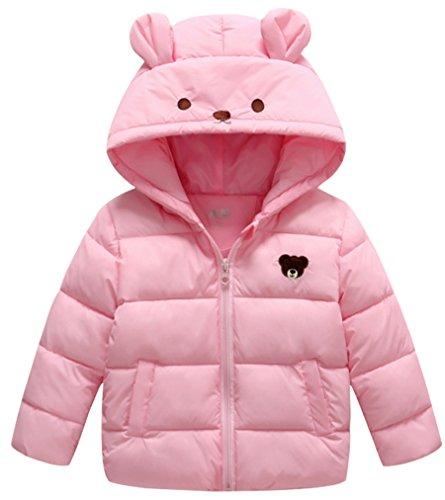 Little Girls Winter Lightweight Down Coat Cartoon Hooded Down Jacket ()