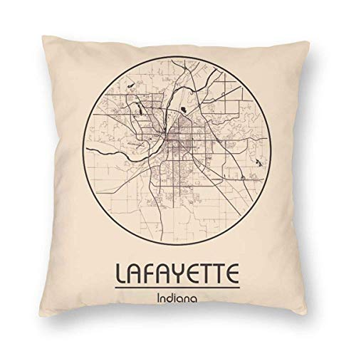 City Map in USA Lafayette Indiana North America Square Cotton Throw Pillow Case Decorative Cushion Cover Pillowcase Cushion Case for Sofa,Bed,Chair
