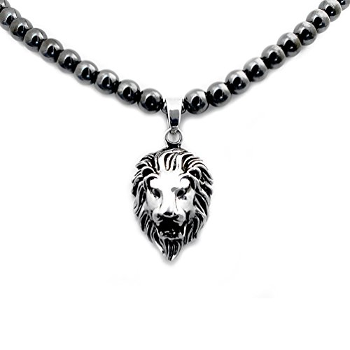 Accents Kingdom Men's Magnetic Hematite Round Bead Necklace With Stainless Steel Lion Head Pendant 20
