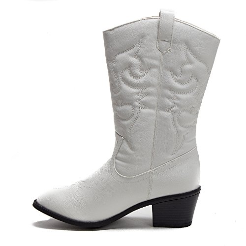 Jaime Aldo Dames Tex-25 Hoge Gestikte Western Cowboy Cowgirl Boots Wit