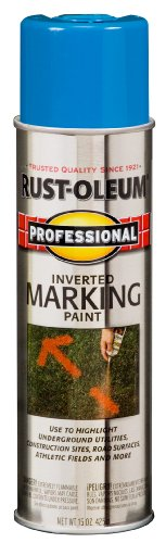 - Rust-Oleum 2524838 Professional Inverted Marking Spray Paint, 15 oz, Caution Blue
