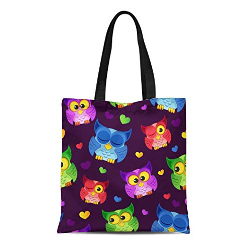 71cdacba1567 Semtomn Canvas Tote Bag Shoulder Bags Pink Pattern Blue Animal Owls and  Hearts Green Funny Women's Handle Shoulder Tote Shopper Handbag