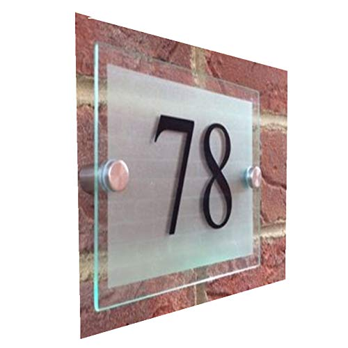 Fuli Modern Blank Acrylic Plaque Sheet with Drilling Holes for Picture Frame/House Street Address Sign Plaque Door Number Plaque (Frosted Glass Effect(140×100mm))